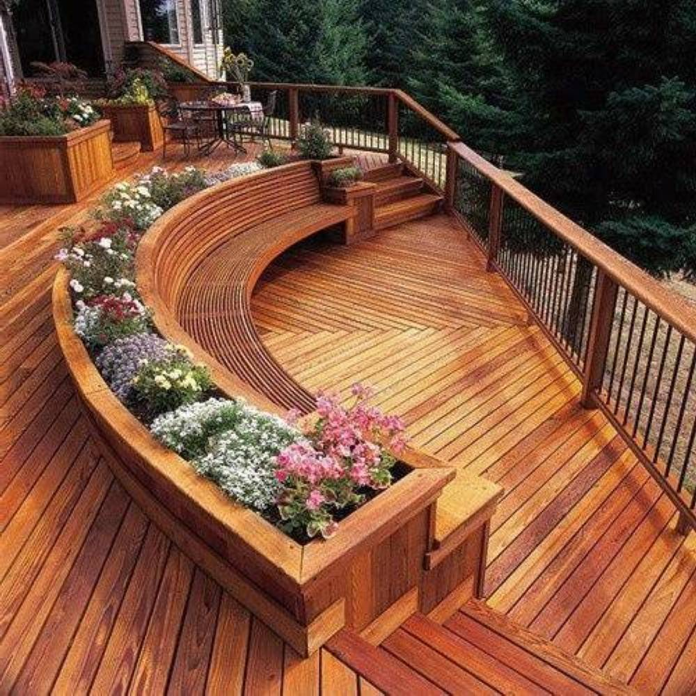 curved deck bench with flower pots deck and patio design ideas - Home Deck Design