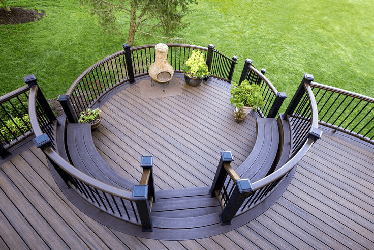 Amazing deck design in pa and nj gallery amazing decks for Circular garden decking