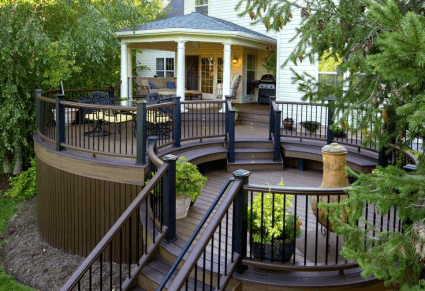 curved deck with roof deck design amazing deck - Outdoor Deck Design Ideas