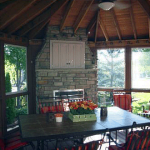 Amazing Screened In Deck Design with Fireplace- Amazing Deck