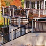 Multiple Level Curved Deck Design with Stairs and Railing- Amazing Deck