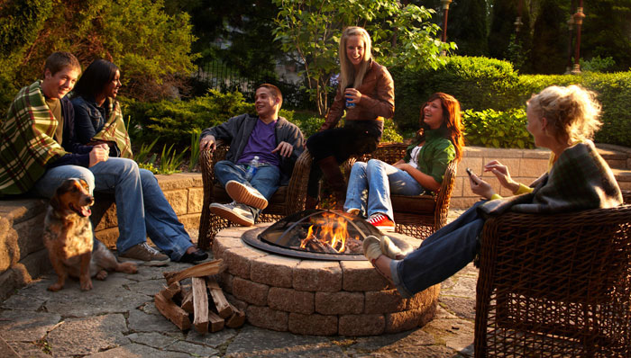 Friends around fire pit