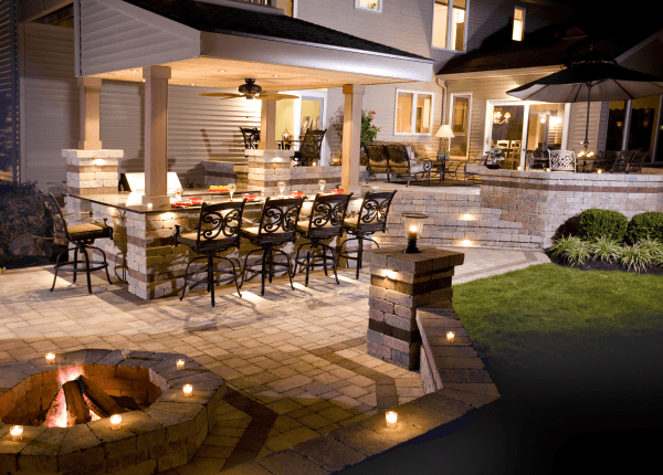 Paver Stone Patio Design with Patio Lighting- Outdoor Kitchen Design