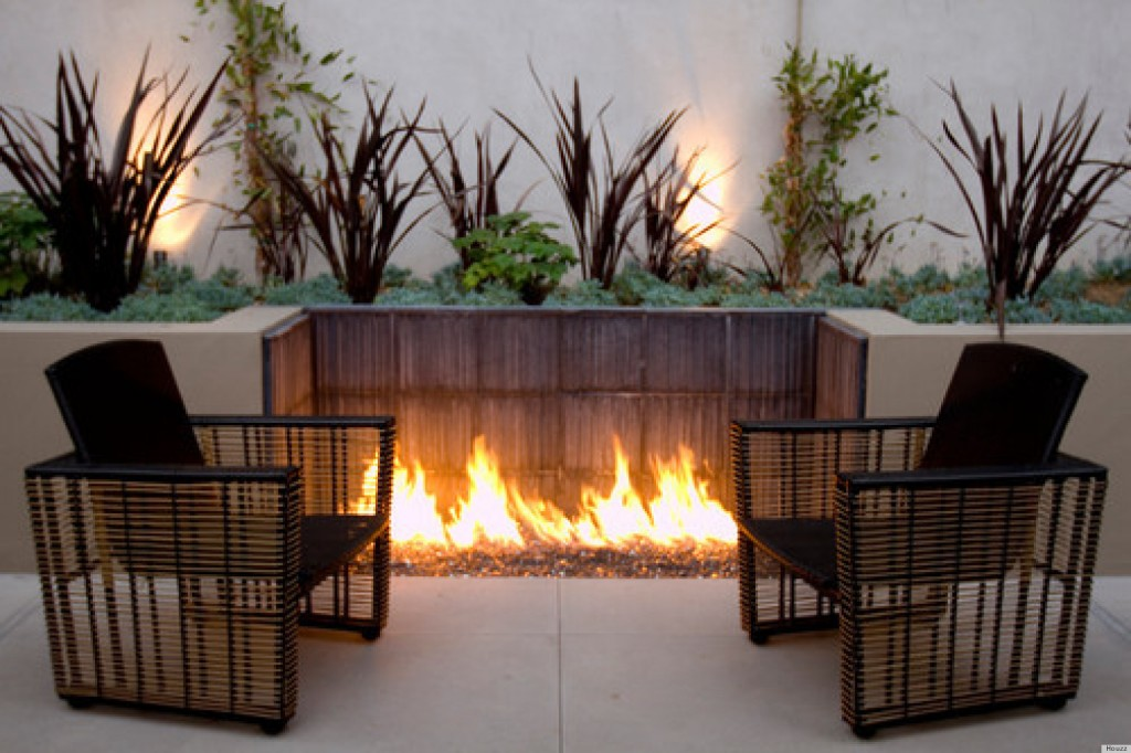 fire pit built into wall