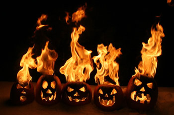 flaming pumpkins
