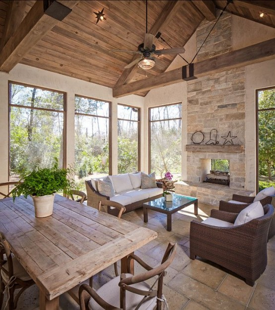 screened in porch design idea with wooden beams amazing deck - Screened In Porch Design Ideas