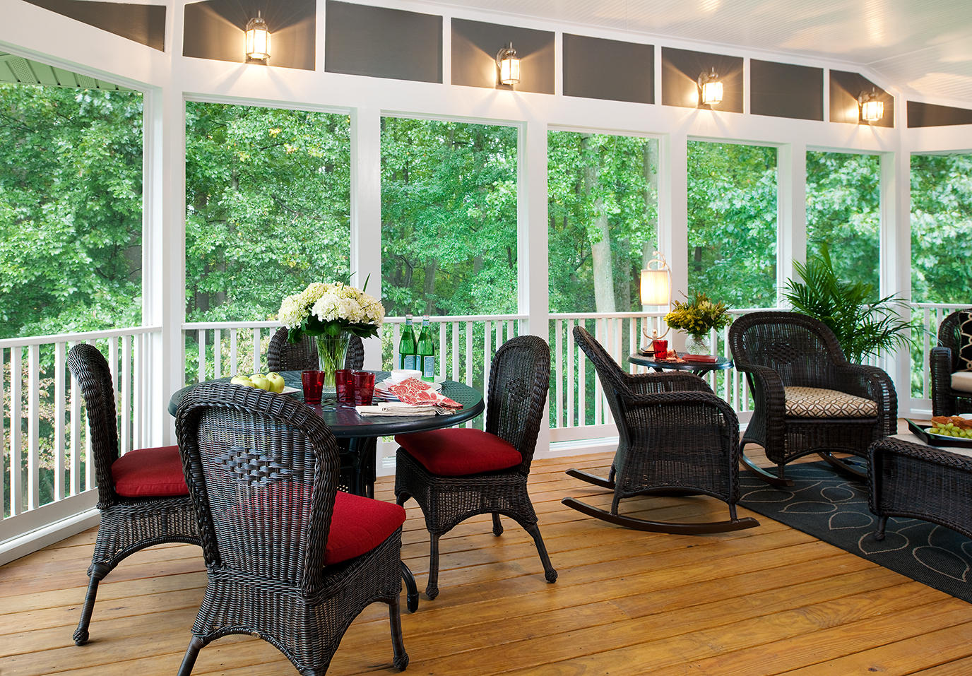 screened in porch desings_pops of color 2_source pinterest - Screen Porch Design Ideas